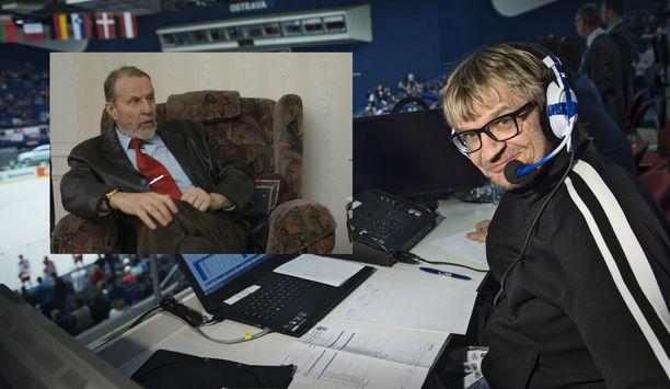 Antero Mertaranta arvosti Raimo Häyrisen (vas.) radioselostustyyliä.