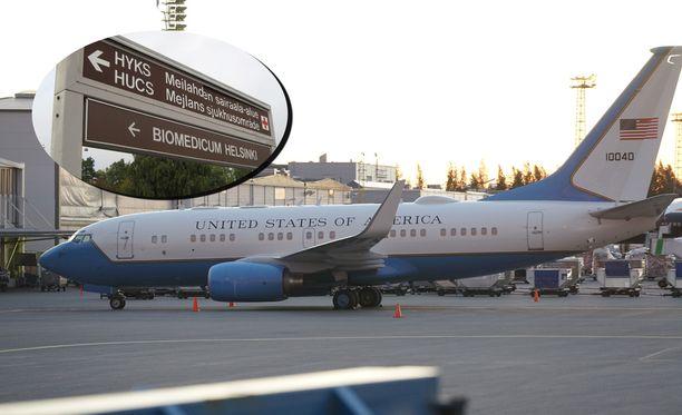 Yhdysvaltojen lentokone saapui Helsinki-Vantaalle eilen.