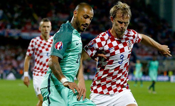 Ricardo Quaresma (vas.) oli ainoa maalinteossa onnistunut pelaaja eilisessä Kroatia-Portugali-pelissä.