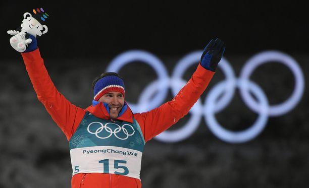 Emil Hegle Svendsen pääsi tuulettamaan mitalia viimeisissä arvokisoissaan Pyeongchangissa.