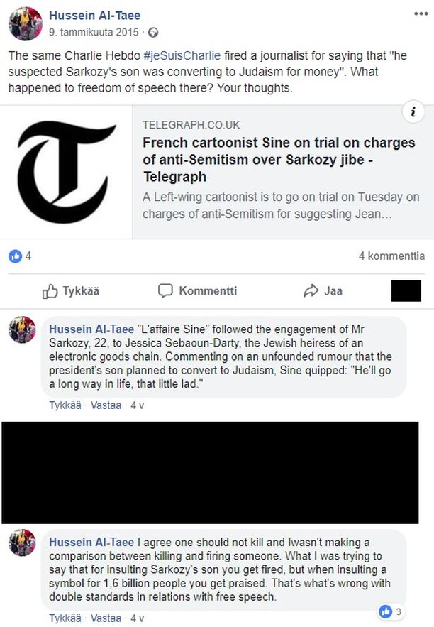 Al-Taee kommentoi tässä Facebook-päivityksessään terrorihyökkäyksen kohteeksi joutunutta Charlie Hebdo -lehteä siitä, että se antoi potkut työntekijälle, joka pilkkasi Ranskan presidentin poikaa juutalaisuuden näkökulmasta.