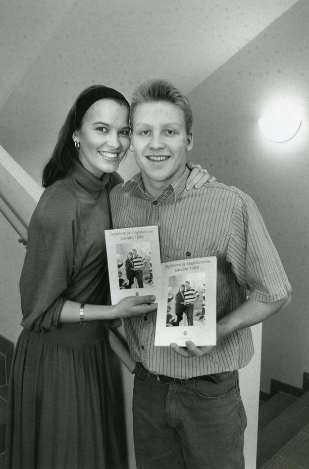 Vuonna 1993 huippu-uimari Jani Sievisen kanssa.