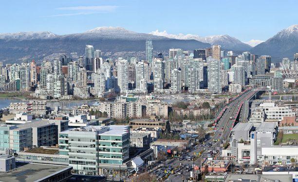 Vancouverin keskusta huipputarkassa valokuvassa.