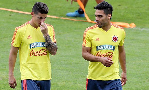 James Rodríguez (vas.) ja Radamel Falcao ovat Kolumbian kirkkaimmat tähdet.