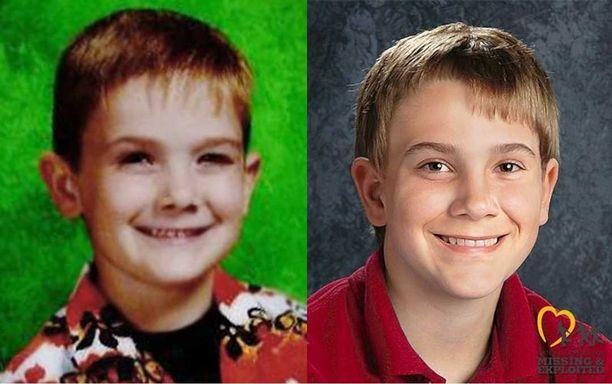 """Timmothy Pitzen kuusivuotiaana katoamisensa aikaan. Toinen kuva on tietokoneella tehty """"vanhennus"""" hänestä."""