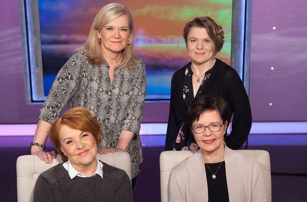 Anne Flinkkilän (ylh. vas.) haastateltavina ovat Pia Kahilan lisäksi myös Lotta Pukkila (ylh. oik.) ja Sydänliiton uusi ylilääkäri Anna-Mari Hekkala.
