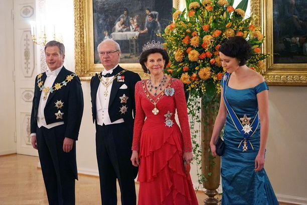 Presidentti Niinistö, kuningaspari ja rouva Haukio.