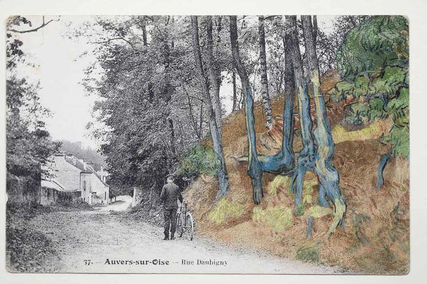 Tästä vanhasta postikortista selvisi, missä Vincent van Goghin viimeinen maalaus on tehty. Puun juuret on väritetty havainnollisuuden vuoksi.