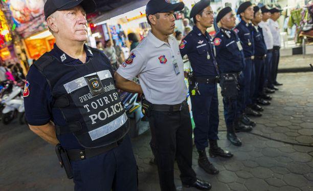 Turistipoliisin joukko Pattayalla. Arkistokuva.