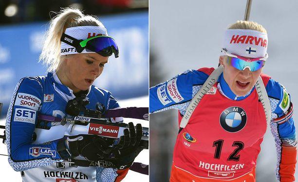 Mari Laukkanen ja Kaisa Mäkäräinen kisasivat keskiviikkona MM-kisojen normaalimatkalla.
