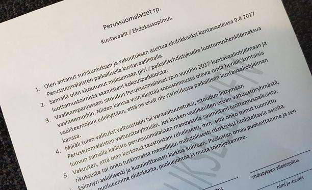 Perussuomalaisten ehdokassopimus vuoden 2017 kuntavaaleissa.