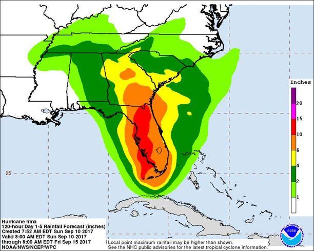 Graafissa kuvattuna Irmasta johtuva potentiaalisen 120 tunnin aikana ropisevan sateen määrä eri alueilla. Pahimmilla alueilla vettä saadaan 10 tuumaa eli peräti 25 senttiä.
