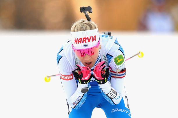 Kaisa Mäkäräinen kilpaili perjantaina Hochfilzenissä.