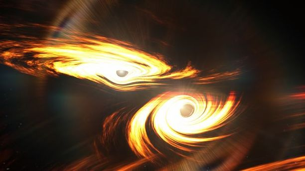 Taiteilijan näkemys mustien aukkojen yhdistymisestä, joka tapahtui seitsemän miljardia vuotta sitten.