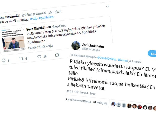 Hallitus ja oppositio nokittelevat sosiaalisessa mediassa toisiaan vanhoista irtisanomisnäkemyksistä. Riina Nevamäki ja Eeva Kärkkäinen ovat pääministeri Juha Sipilän (kesk) erityisavustajia, työministeri Jari Lindströmiltä (sin) vastauksen saanut Dimitri Qvintus puolestaan SDP:n puheenjohtajan Antti Rinteen mediavastaava.