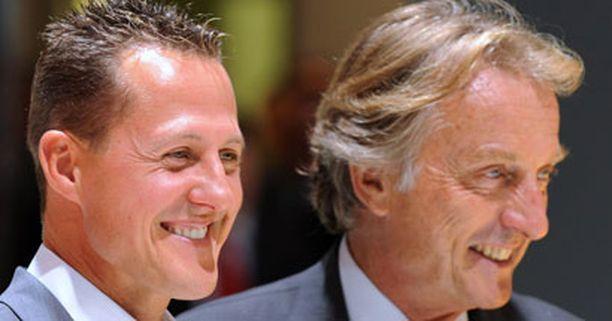 Michael Schumacher (vas. ) ja Ferrarin pääjohtaja Luca di Montezemolo ovat molemmat julistautuneet Fernando Alonson faneiksi.