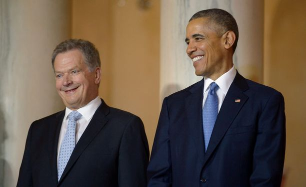 Presidentit Niinistö ja Obama vaikuttivat tulevan mainiosti juttuun keskenään.
