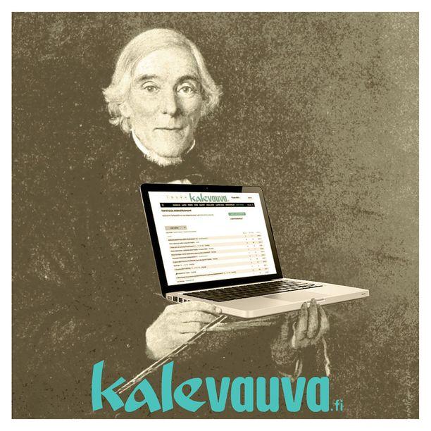 Kalaveuva.fi-duon debyyttialbumin kannessa komeilee tietenkin Elias Lönnrot tietokoneen kanssa.