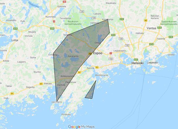 Sahauskohteet ovat eri puolilla kartan tummennettua aluetta.