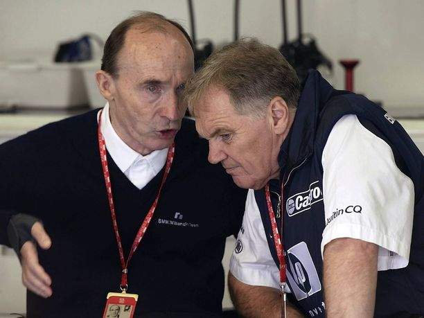 Williamsin F1-tallin perustaneet Frank Williams (vasemmalla) ja Patrick Head tekivät vuosikymmenten ajan menestyksekästä yhteistyötä.