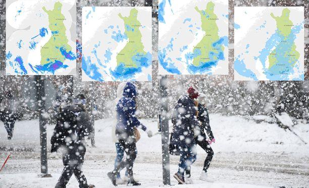 Lunta tulee enimmillään 15 senttiä, arvioi Ilmatieteen laitos. Kuvituskuva.