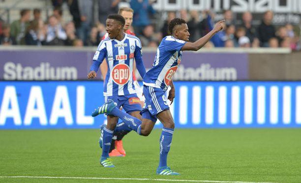 Nnamdi Oduamadi sai tuulettaa Stadin derbyjen lähihistorian ensimmäistä voittomaalia.