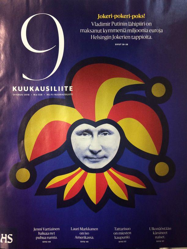 Helsingin Sanomien tänään ilmestyneen Kuukausiliitteen kansikuva sai Jokerit näkemään punaista.