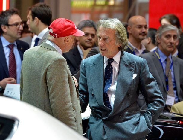 Luca di Montezemolo vaihtoi kuulumisia Niki Laudan kanssa ennen esittelyä..