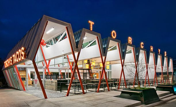 Torchy's Tacos Austinissa Yhdysvalloissa on parhaiten suunniteltu ulkoilmaravintola.