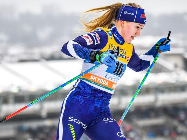 Anita Korva oli yksi neljästä suomalaisnaisesta sprintin karsinnassa.