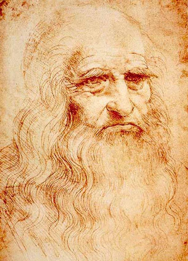 Leonardo da Vinci syntyi avioliiton ulkopuolella notaari Piero da Vincin ja maalaistyttö Caterinan pojaksi Vincissä Firenzen alueella. Omakuva.