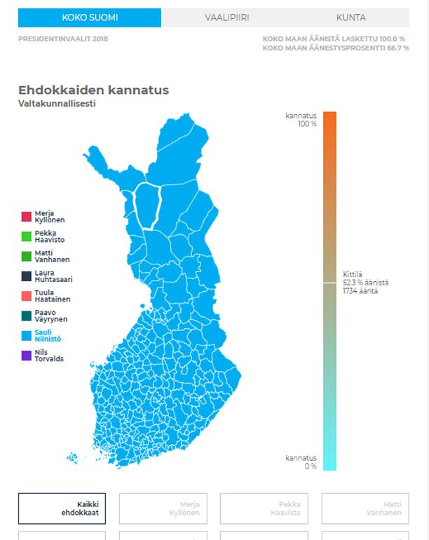Kartta näyttää, kuinka Niinistö oli suosituin ehdokas jokaisessa suomalaiskunnassa.
