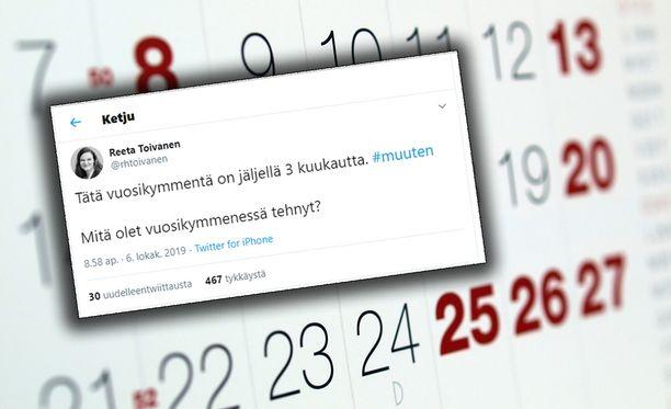 Reeta Toivanen päätti kokeilla, että vastaisivatkohan ihmiset yllä näkyvään kysymykseen Twitterissä. Ja kyllähän he vastasivat!