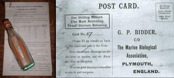 Tällaisia olivat brittitutkijan 1900-luvun alussa lähettämät pullopostit. Viesti oli kirjoitettu englanniksi, hollanniksi ja saksaksi.