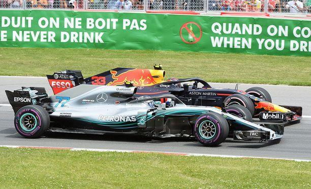 Valtteri Bottas sai pidettyä Max Verstappenin takanaan.