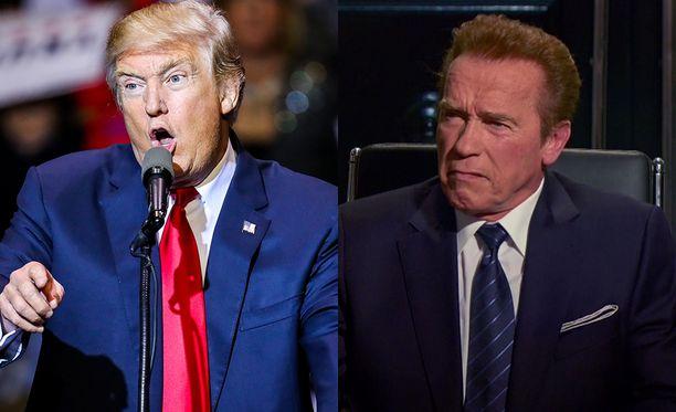 Donald Trump pilkkaa Arnold Schwarzeneggeriä Diili-katsojaluvuista.