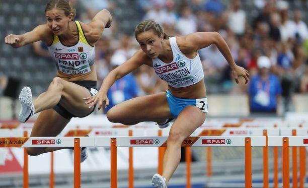 Maria Huntington juoksi mainiosti 100 metrin aidoissa.