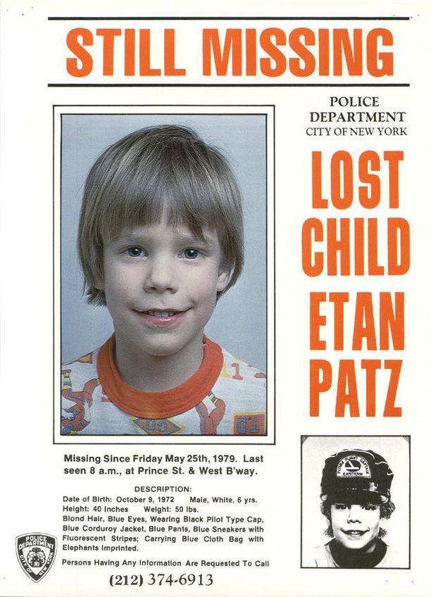 Etan Patz katosi New Yorkissa vuonna 1979. Häntä etsittiin maitopurkin kylkeen painetulla ilmoituksella.