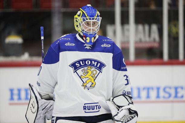Lukko-vahti Lassi Lehtinen, 20, pelasi lauantaina ensimmäisen A-maaottelunsa.