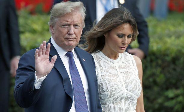 Melania Trump on edustanut Euroopassa puolisonsa rinnalla. Tilanne on harvinainen. Kuva keskiviikolta Brysselistä.