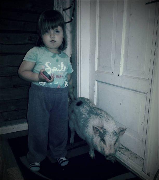 Pekoni ja kolmevuotias Neve olivat hyvät kaverit, ja tyttö kaipaa possua kovasti.