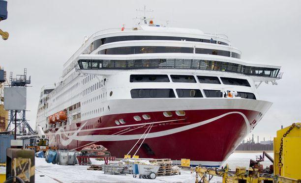 Viking Linen alus oli saapunut Turun satamaan Tukholmasta. Kuvituskuva.