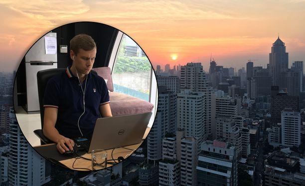 Tero Salmén on asunut ja tehnyt töitä Bangkokissa reilun neljän vuoden ajan. Hänen työtilansa sijaitsee kaupungin keskustan liepeillä.