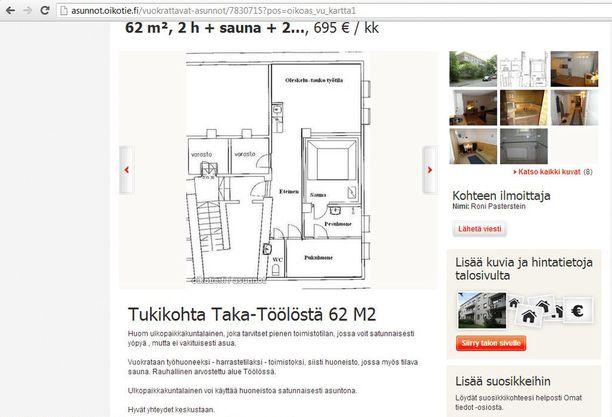 Iltalehden haltuunsa saaman vuokrailmoituksen mukaan Pastersteinin omistamaa saunaa on vuokrattu tietoisesti ja rakennusluvan vastaisesti asuinkäyttöön. Saunassa ei yhtiöjärjestyksen ja rakennusluvan mukaan saa asua.