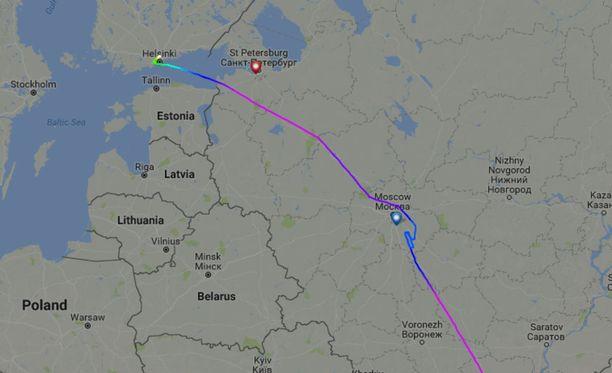 Qatar Airwaysin kone pyöri Moskovan läheisyydessä, mutta jatkoi matkaansa Helsinki-Vantaalle.
