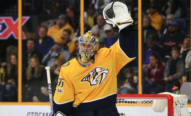 Nashville Predatorsin Pekka Rinne torjui joukkueelleen 5-3-voiton.