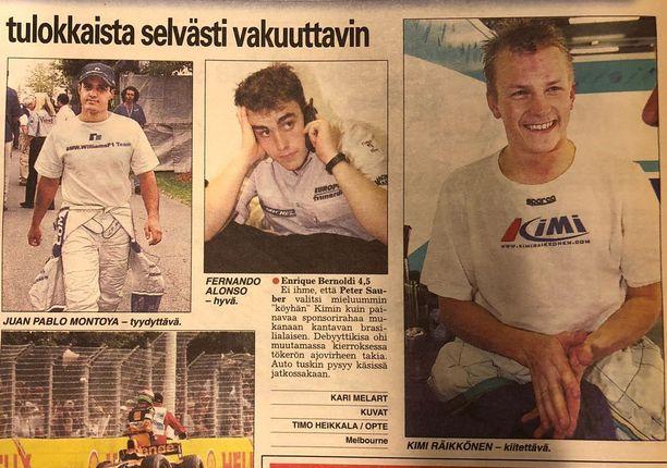 Iltalehti analysoi vuonna 2001 laajassa artikkelissaan, miten F1-tulokkailla menee. Räikkönen arvioitiin muun muassa Fernando Alonson ohi. Kaksinkertainen maailmanmestari Alonso lopettaa uransa tähän kauteen.