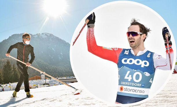 Miesten 15 kilometriä hiihdettiin sohjossa. Se sopii norjalaisille.