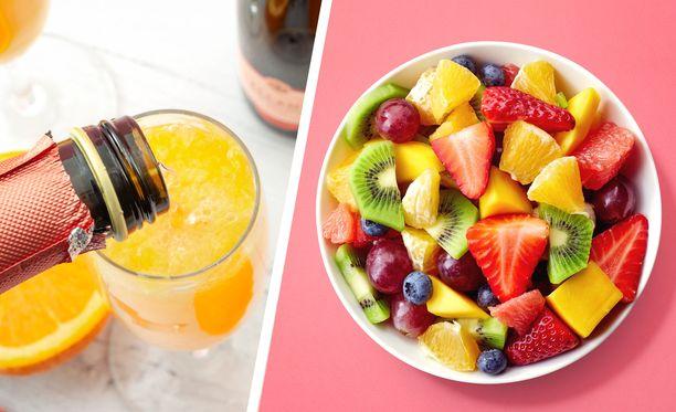 Appelsiinimehua ja kuohuviiniä sisältävä Mimosa sopii täydellisesti hedelmäsalaatin liemeksi.