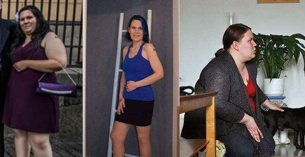 Vasemmalla kuva, joka herätteli Jennyn ylipainoon ensikertaa. Siinä hän painaa 110 kiloa. Keskellä nykyinen Jenny. Oikealla Jenny 120 kiloa.